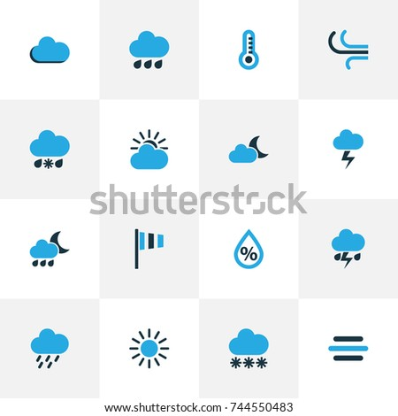 Weather Colorful Icons Set. Collection Of Wind Speed, Drizzle, Cold Weather And Other Elements. Also Includes Symbols Such As Snowfall, Drizzle, Storm. #744550483