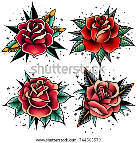 Old tattooing school colored icons set with roses symbols isolated vector illustration Royalty-Free Stock Photo #744565579