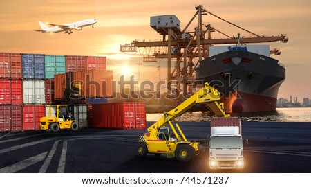 Logistics and transportation of Container Cargo ship and Cargo plane with working crane bridge in shipyard at sunrise, logistic import export and transport industry background #744571237