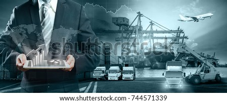 Logistics and transportation of Container Cargo ship and Cargo plane with working crane bridge in shipyard at sunrise, logistic import export and transport industry background #744571339