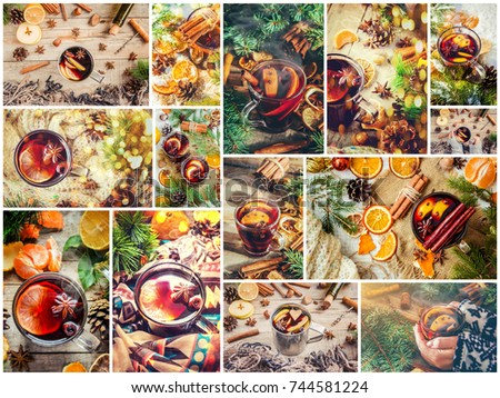 collage of Christmas pictures.  mulled wine. selective focus. #744581224