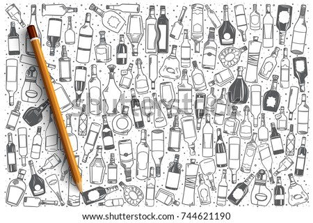 Hand drawn alcohol vector doodle set background #744621190