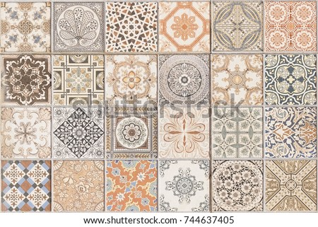 Ceramic tile pattern elegant vintage and Tuscany flowers. Beautiful colored background for design and fashion with decorative elements. Ornate floral decor for wallpaper. Tuscany or Italian style #744637405