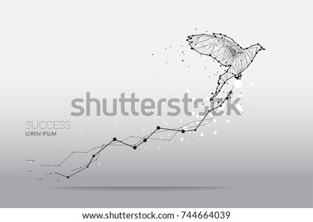 The particles, geometric art, line and dot of bird flying abstract vector illustration.  graphic design concept of business growth - line stroke weight editable Royalty-Free Stock Photo #744664039