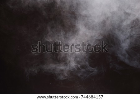 Dense Fluffy Puffs of White Smoke and Fog on Black Background, Abstract Smoke Clouds, All Movement Blurred, intention out of focus, and high low exposure contrast, copy space for text logo #744684157