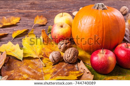 Pumpkin, apples and walnuts on a wooden table  #744740089