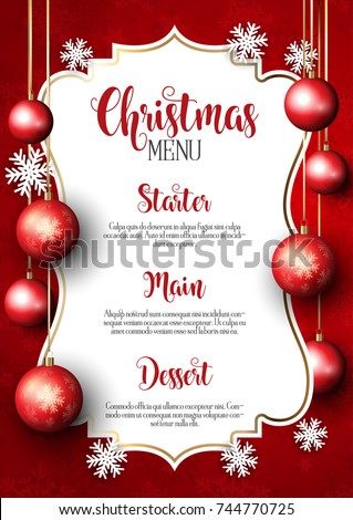 Christmas menu with snowflake and baubles design #744770725