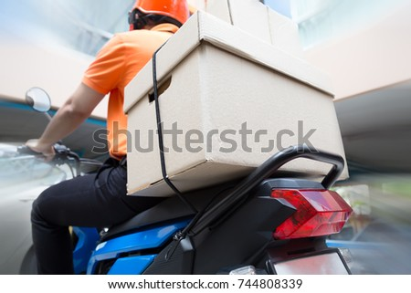 Delivery man ride motorcycle service, Fast and Free Transport #744808339