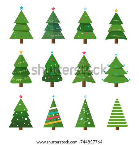 Collection of Christmas trees, modern flat design. Can be used for printed materials - leaflets, posters, business cards or for web.