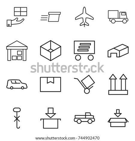 thin line icon set : gift, delivery, plane, truck, warehouse, box, car shipping, package, trolley, cargo top sign, do not hook, pickup #744902470