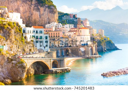Morning view of Amalfi cityscape on coast line of mediterranean sea, Italy  #745201483