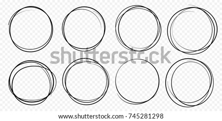 Hand drawn circle line sketch set. Vector circular scribble doodle round circles for message note mark design element. Pencil or pen graffiti  bubble or ball draft illustration. Royalty-Free Stock Photo #745281298