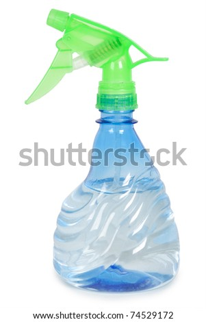blue flower sprayer with water isolated #74529172