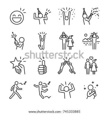 Happy line icon set. Included the icons as fun, enjoy, party, good mood, celebrate, success and more. Royalty-Free Stock Photo #745333885