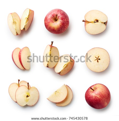 Set of fresh whole and cut apple and slices isolated on white background. From top view #745430578