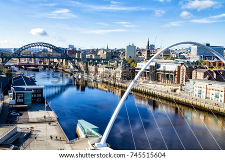 Classic view of the Iconic Tyne Bridge spanning the River Tyne between Newcastle and Gateshead #745515604