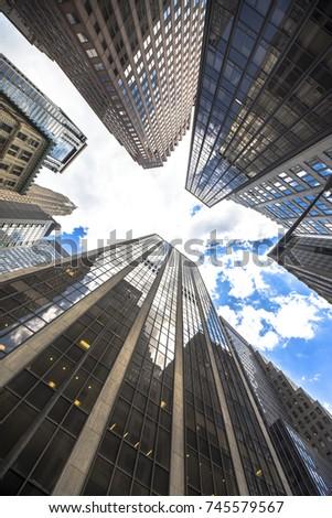New york business center downtown skyscraper building view. New York city USA #745579567