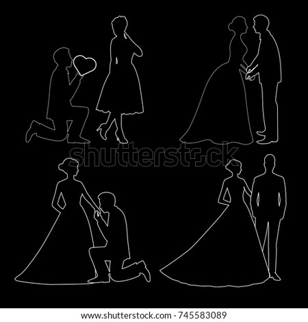 The bride and groom. Set. The black contour of a bride and groom isolated on black background. Vector illustration. #745583089