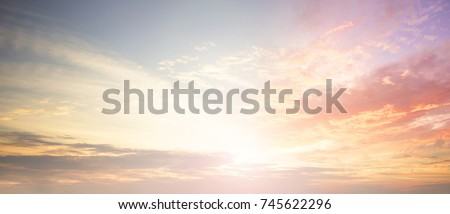 Background of colorful sky concept: Dramatic sunset with twilight color sky and clouds. #745622296