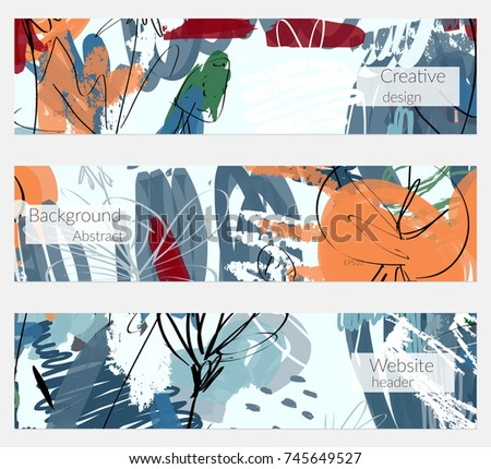 Hand drawn creative universal banner set. Abstract scribbles doodles bright colors. Website header social media advertisement sale brochure templates. Isolated vector banner templates. #745649527