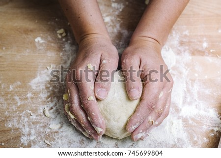 Making of the traditional italian pasta dough #745699804
