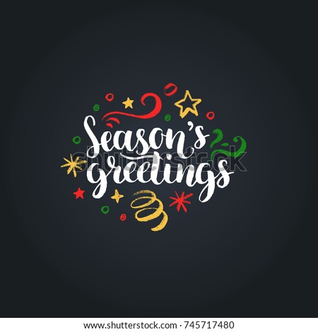 Seasons Greetings lettering on black background. Vector hand drawn Christmas illustration. Happy Holidays greeting card, poster template. Royalty-Free Stock Photo #745717480