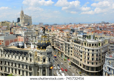 MADRID - JUN. 6, 2013: Aerial view of Madrid City at the Calle de Alcala and Gran Via, Madrid, Spain. Metropolis Building Edificio Metropolis and Telefonica Building are at both sides of Gran Via. #745732456