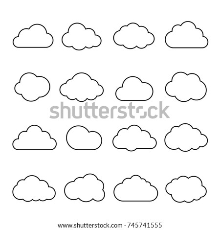 Clouds line art icon. Storage solution element, databases, networking, software image, cloud and meteorology concept. Vector line art illustration isolated on white background Royalty-Free Stock Photo #745741555