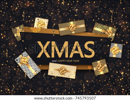 Vector modern Christmas or 2018 Happy New Year winter holiday invitation card background #745793107