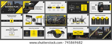 Abstract white, yellow, slides. Brochure cover design. Fancy info banner frame. Creative set of infographic elements. Urban. Title sheet model set. Modern vector.  Presentation templates, corporate. Royalty-Free Stock Photo #745869682