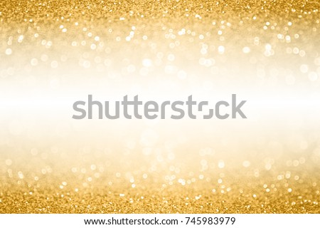 Fancy gold glitter sparkle confetti background for golden happy birthday party invite, 50th wedding anniversary banner, sequin glitz border, Christmas ad or New Year's Eve champagne color white space