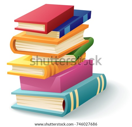 A cartoon stack of books illustration.