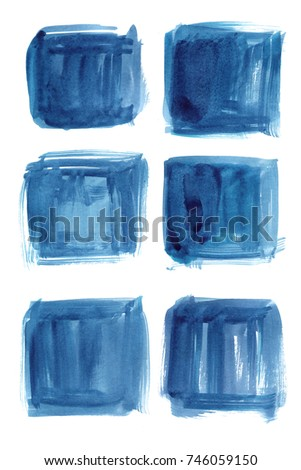 Blue. Set watercolor blobs, isolated on white background. Shape design blank watercolor colored rounded shapes web buttons on white background. Divorces paint. Turquoise #746059150