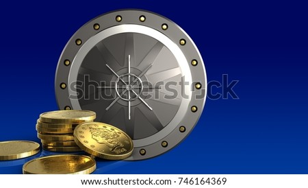 3d illustration of valut door over blue gradient background with golden coins #746164369