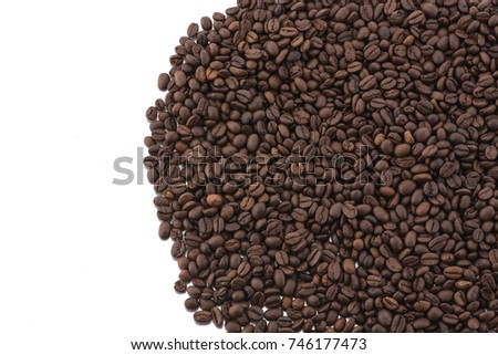 Roasted coffee beans isolated on white background,Free from copy space. #746177473