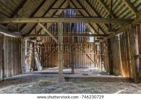 Old desolate barn in Kampinos Forest near Warsaw in Poland