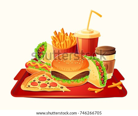 cartoon illustration of a traditional set of fast food meal - hamburger, hot dog, pizza, french fries, taco, take-away coffee, cola - isolated on white. Signboards, badges, stickers, tags