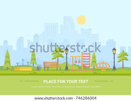 Children playground - modern vector illustration with place for text. Urban landscape with skyscrapers on the background. Recreation zone with fountain, bench, horizontal bar, merry-go-round, bin #746286004