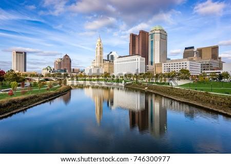 Columbus, Ohio, USA skyline on the Scioto River.
