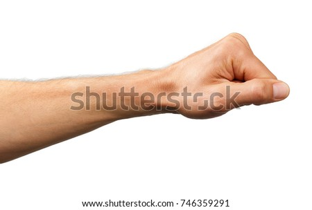 human hand  made into a fist isolated. #746359291
