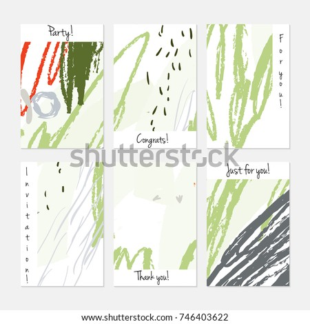 Hand drawn creative universal invitation greeting cards template. Abstract scribbles doodles bright colors.Birthday, wedding, party, social media banners templates. Isolated vector card templates. #746403622