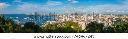Panorama view of Pattaya City, Thailand. #746467243