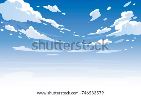 Vector day landscape sky clouds.Anime clean style. Background design Royalty-Free Stock Photo #746533579