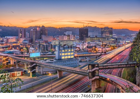 Charleston, West Virginia, USA skyline at twilight. #746637304