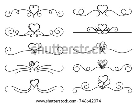 Calligraphic design elements. Thin line dividers and borders with hearts. Set of curls and scrolls for wall decoration, books, cards and tattoos. Swirls Vector Illustration. #746642074