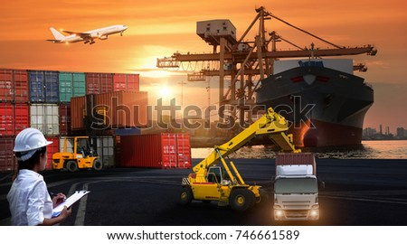 Logistics and transportation of Container Cargo ship and Cargo plane with working crane bridge in shipyard at sunrise, logistic import export and transport industry background #746661589