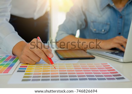 Graphic design and color and pens on a desk. Architectural drawing with work tools and accessories #746826694
