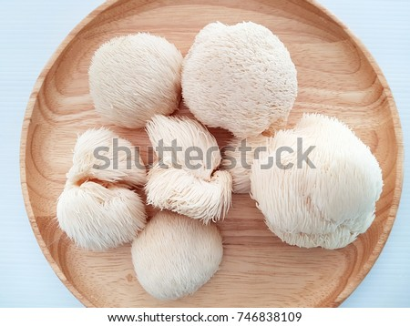 Monkey's head mushroom on wood dish with white background Royalty-Free Stock Photo #746838109