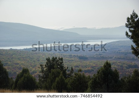 shining landscape in the mountains  #746854492