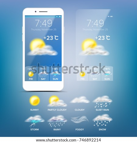 Weather Forecast App. Realistic Smartphone Screen. Weather App With Icons. Design Element Illustration #746892214